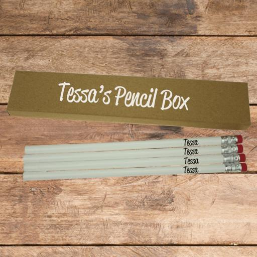 Pencil Box and 4 Wooden Pencils