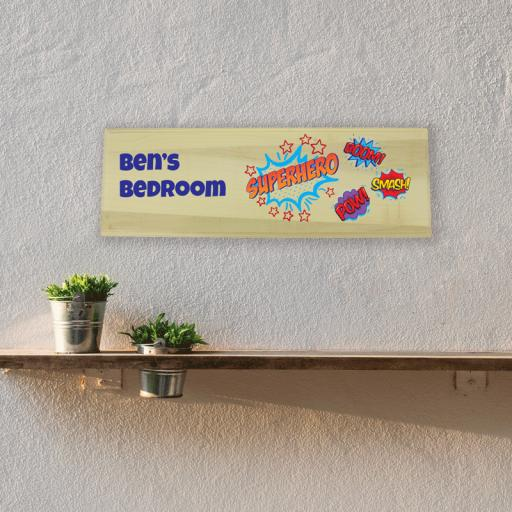 Superhero Bedroom Wooden Sign