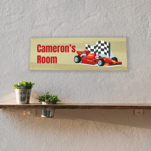 Race Car Bedroom Wooden Sign