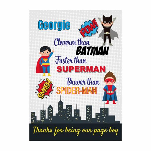 Superhero 10 x 8 Framed Page Boy Picture