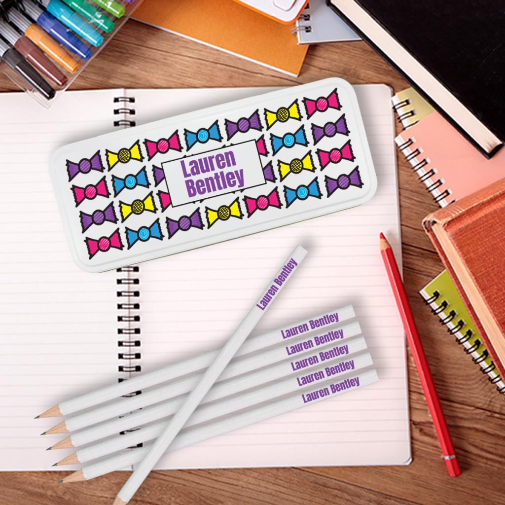 Bows Personalised Pencil Tin