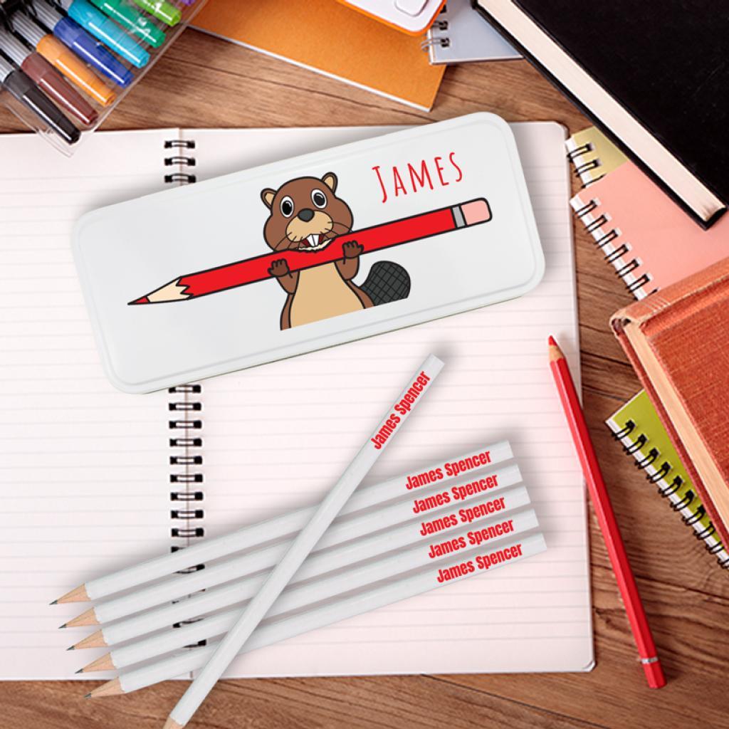 Beaver Personalised Pencil Tin