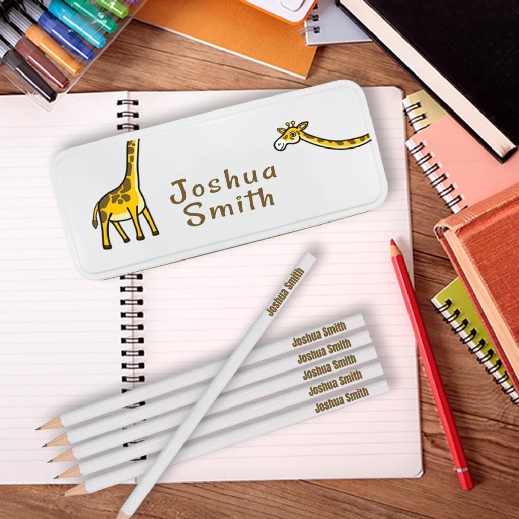 Giraffe Personalised Pencil Tin