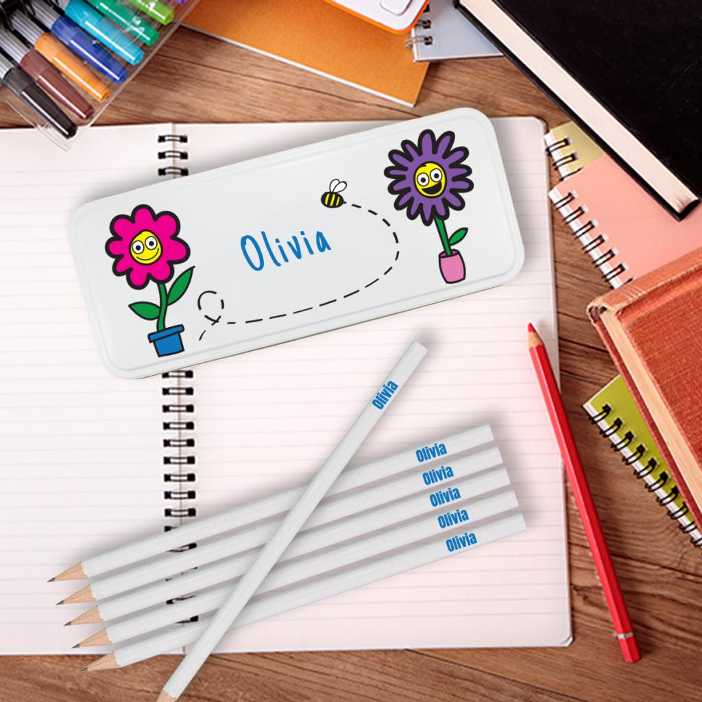 Flowers Personalised Pencil Tin