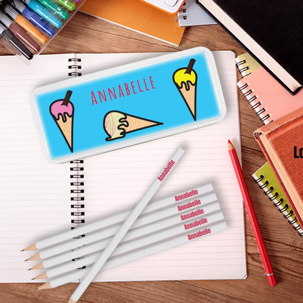 Ice-Cream Personalised Pencil Tin