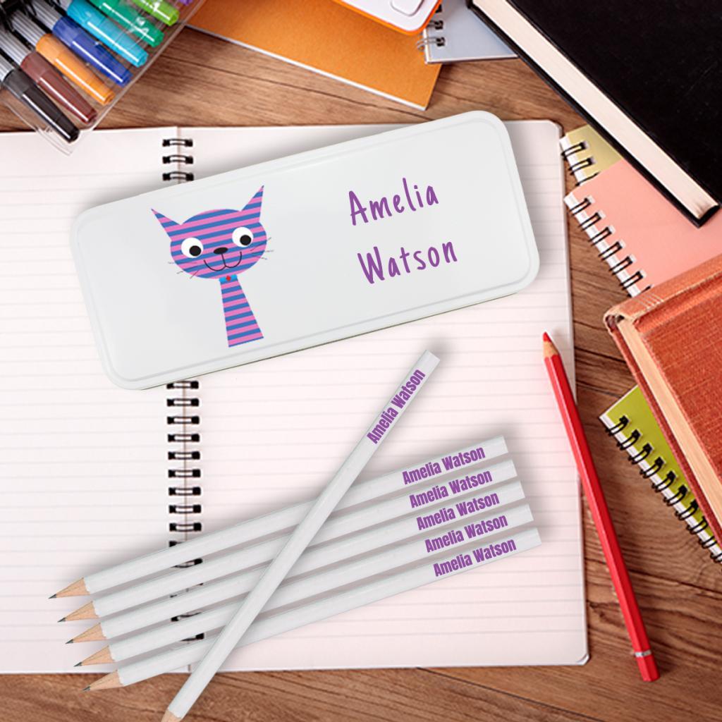 Happy Cat Personalised Pencil Tin