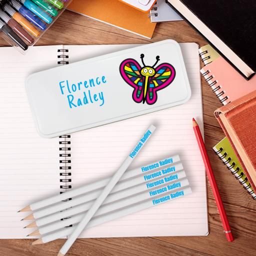 Pencil Tin Pink Butterfly