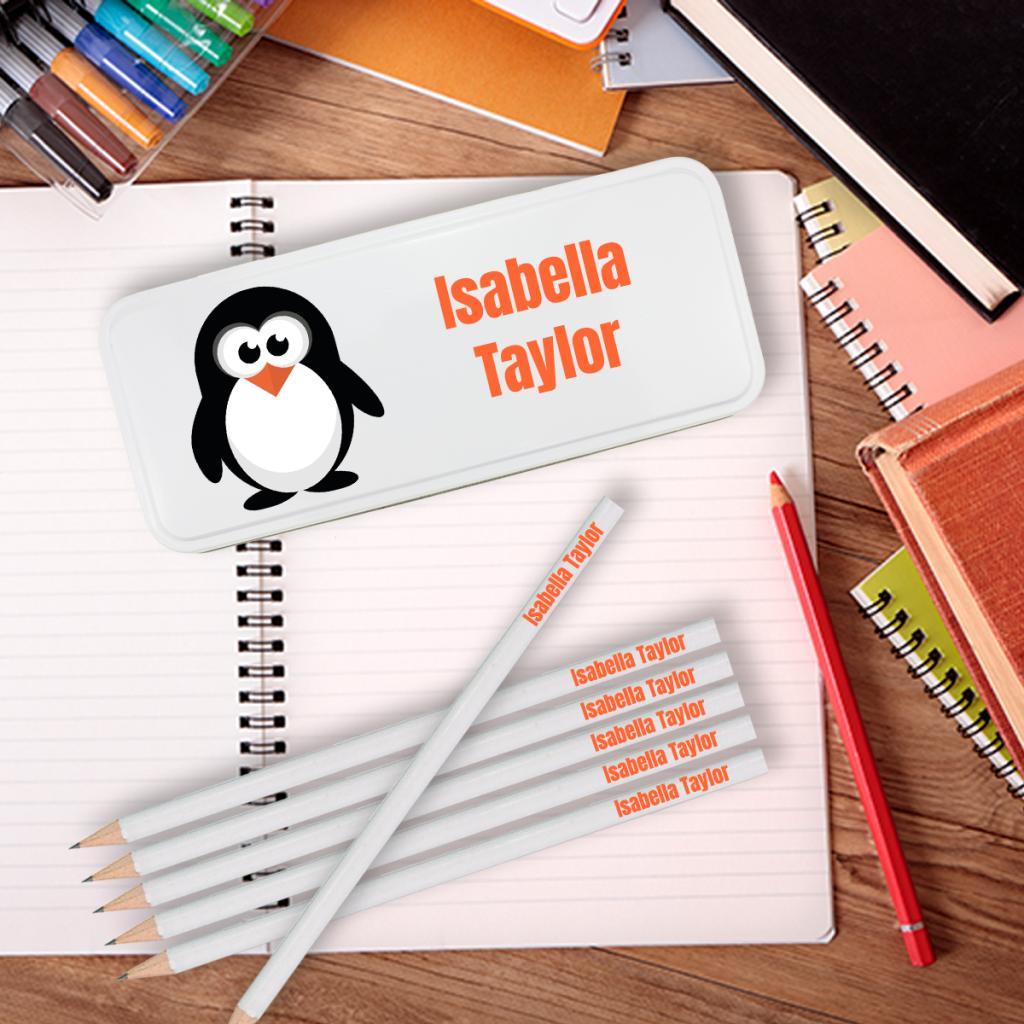 Penguin Personalised Pencil Tin