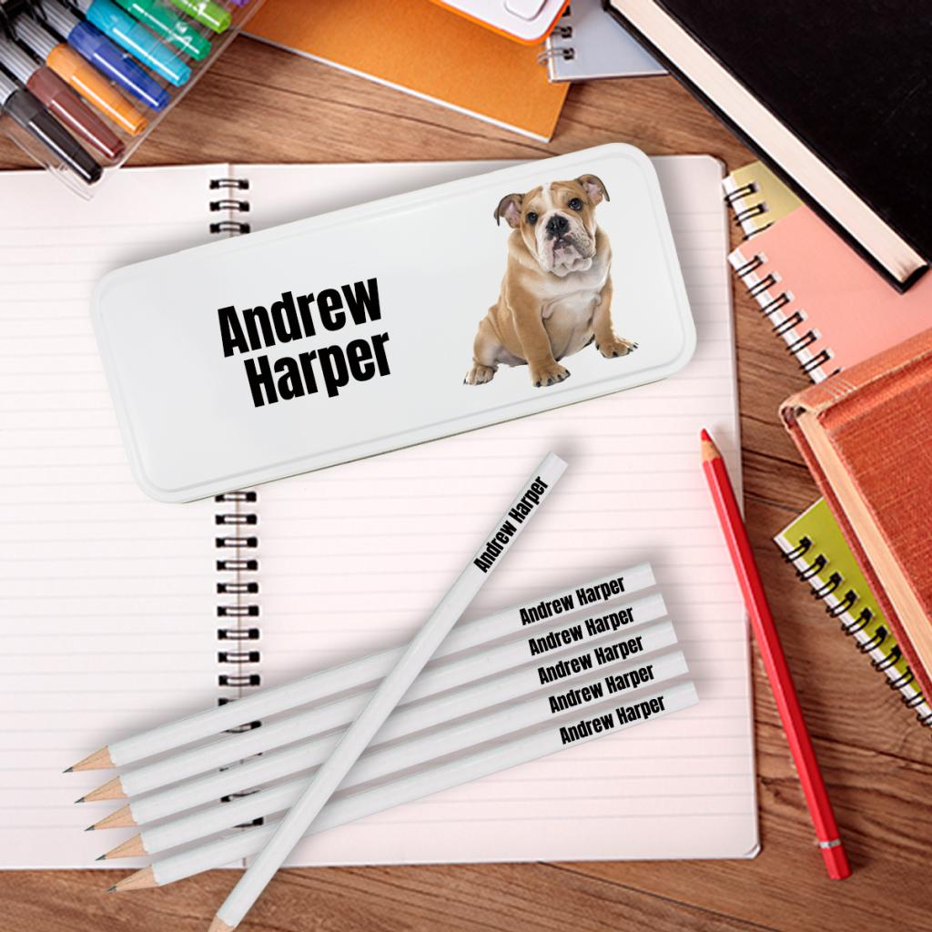 Bulldog Personalised Pencil Tin