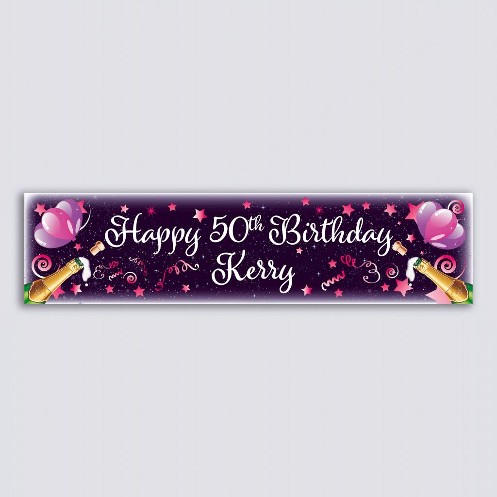 Personalised Banner - Pink Balloons & Champagne