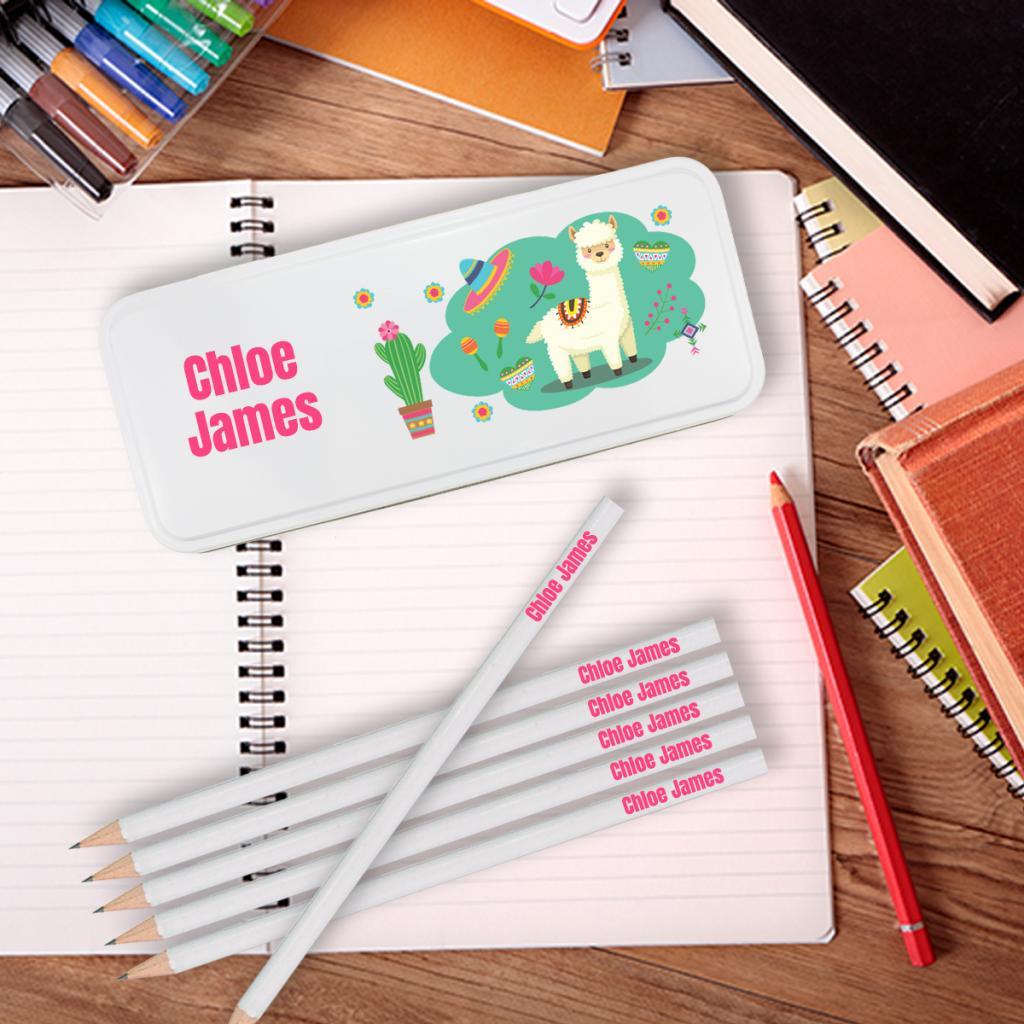 Llama Personalised Pencil Tin