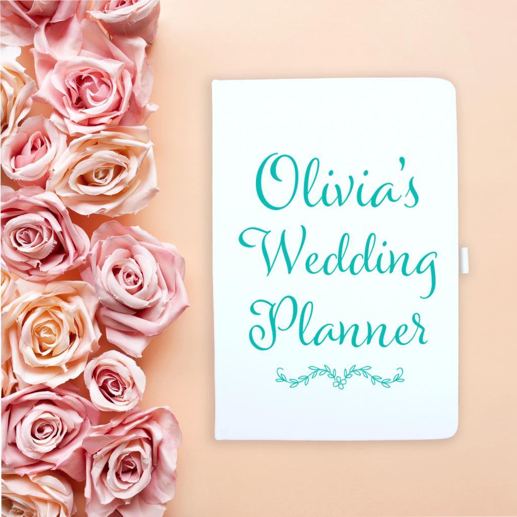 Blue Flowers Wedding Notebook