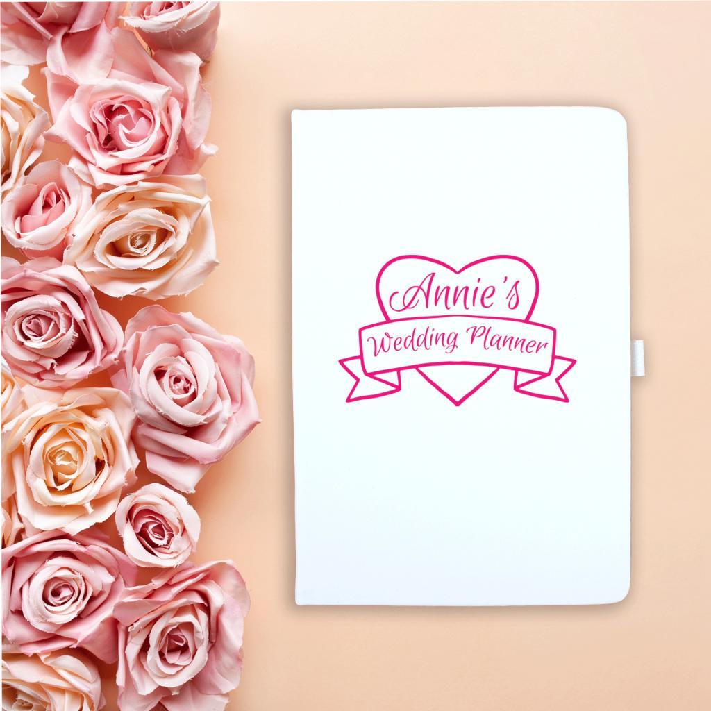 Pink Heart Wedding Notebook