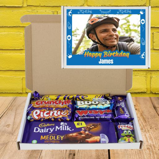 Send Chocolate Birthday Wishes Photo Box Blue