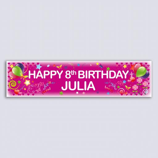 Personalised Banner - Girl Pink