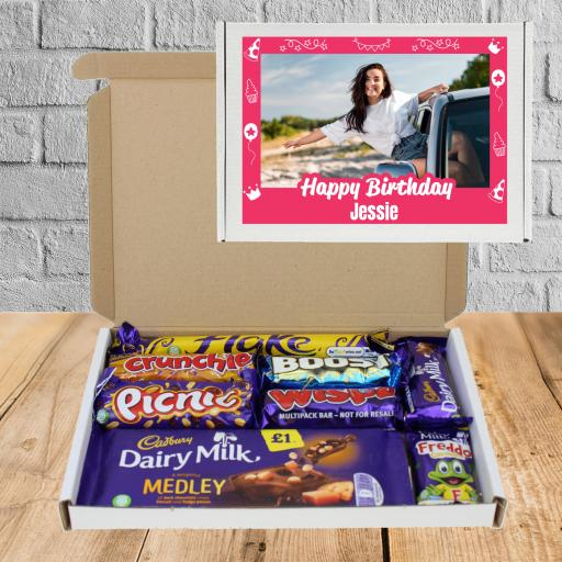 Send Chocolate Birthday Wishes Photo Box Pink