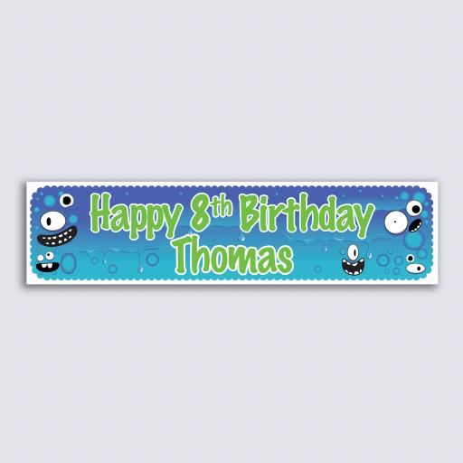 Personalised Banner - Blue Monster