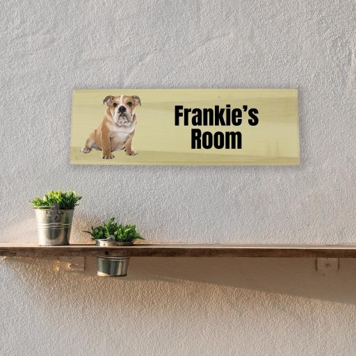 Bulldog Bedroom Wooden Sign