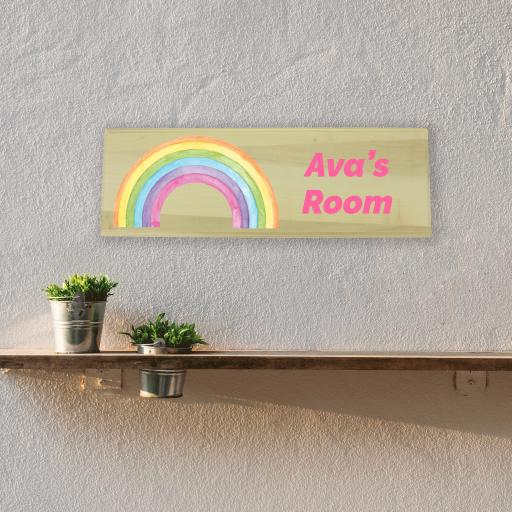Rainbow Bedroom Wooden Sign