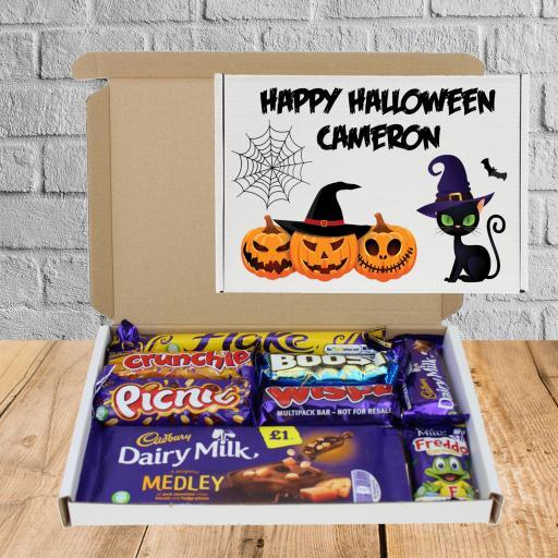 Halloween Cat & Pumpkin Personalised Chocolate Box