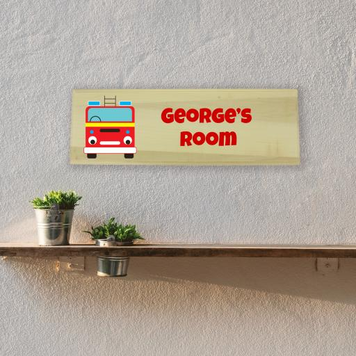 Fire Engine Bedroom Wooden Sign