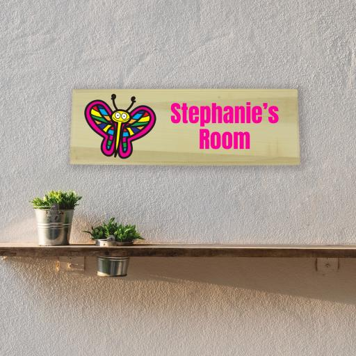 Butterfly Bedroom Wooden Sign