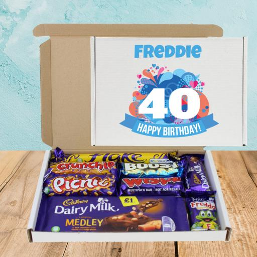 Send Cadburys Chocolate Blue ANY Age Birthday Box