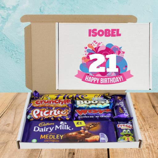 Send Cadburys Chocolate Pink ANY Age Birthday Box