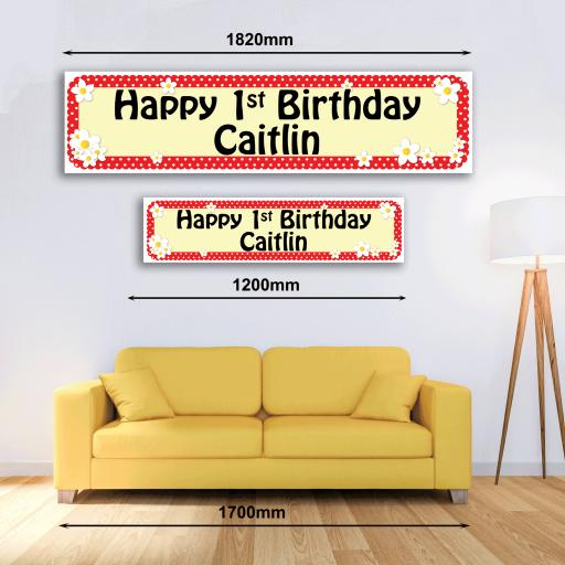 Personalised Banner - Dots & Daisies