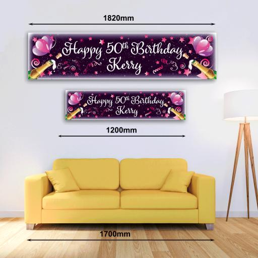 Personalised Banner - Celebrate Pink