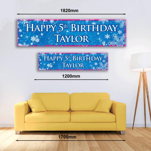 Personalised Banner - Frozen Snowflakes